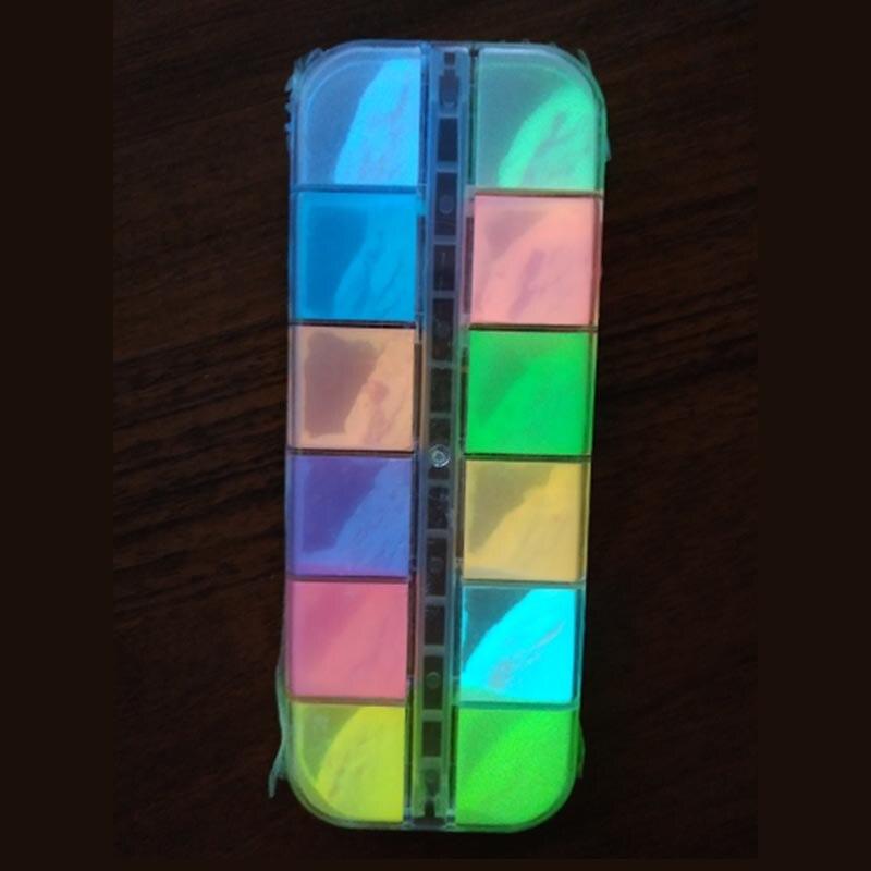 12 Grids Neon Luminous Nail Glitter Powder Fluorescent Glow in the Dark Pigment Nail Art Phosphor Decor UV Gel Polish Tips in Nail Glitter from Beauty Health