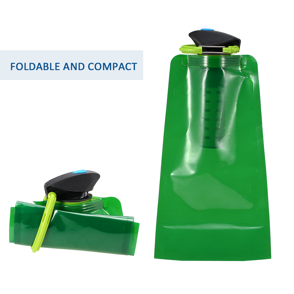 Water Filter Purifier 750ml BPA Free Foldable Water Filter Bag Bladder Outdoor Camping Hiking Emergency Water Filtration Bottle