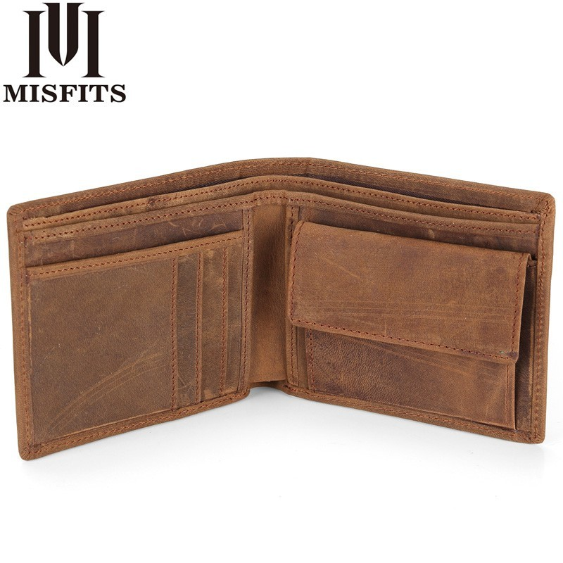MISFITS NEW Genuine Leather Mens Wallets Crazy Horse Leather Men Wallet Coin Pocket And Card Holder High Quality Purses For Male