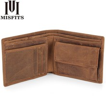 MISFITS NEW Genuine Leather Mens Wallets Crazy Horse Men Wallet Coin Pocket and Card Holder High Quality Purses for Male