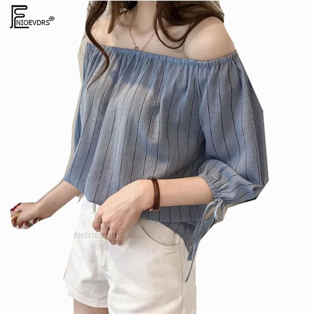 84a12b0c0fc2b Off Shoulder Tops Hot Sales Women Japan Design Cute Sweet Tops Blue White  Striped Bow Tie