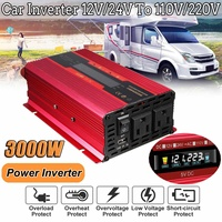 Autoleader 3000W 12V/24V to 110V/220V Solar Power Inverter LCD Display Aluminum Alloy for car truck