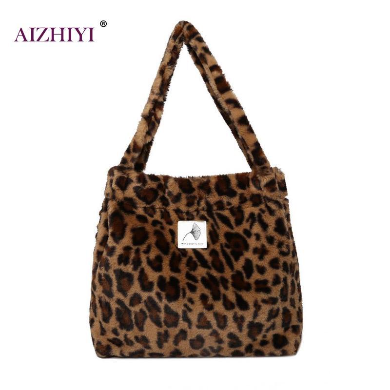 f5fa40686b28 Women Faux Fur Totes Shopping Bag Female Fashion Handbag Girls Large  Capacity Buckle Shoulder Bags High