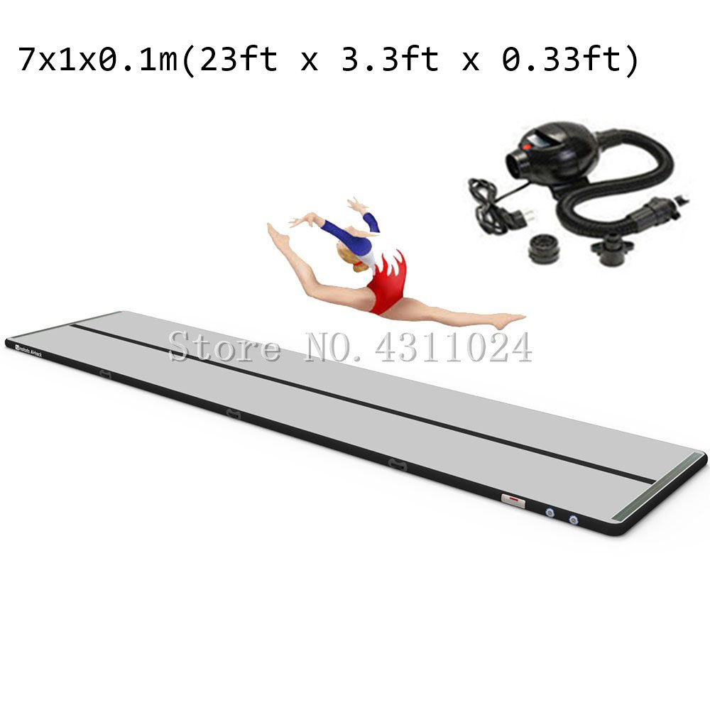 Livraison gratuite 7x1x0.1 m piste d'air, tapis de gymnastique gonflable tapis Airtrack, tapis de sol d'air avec pompe à Air électrique à vendre