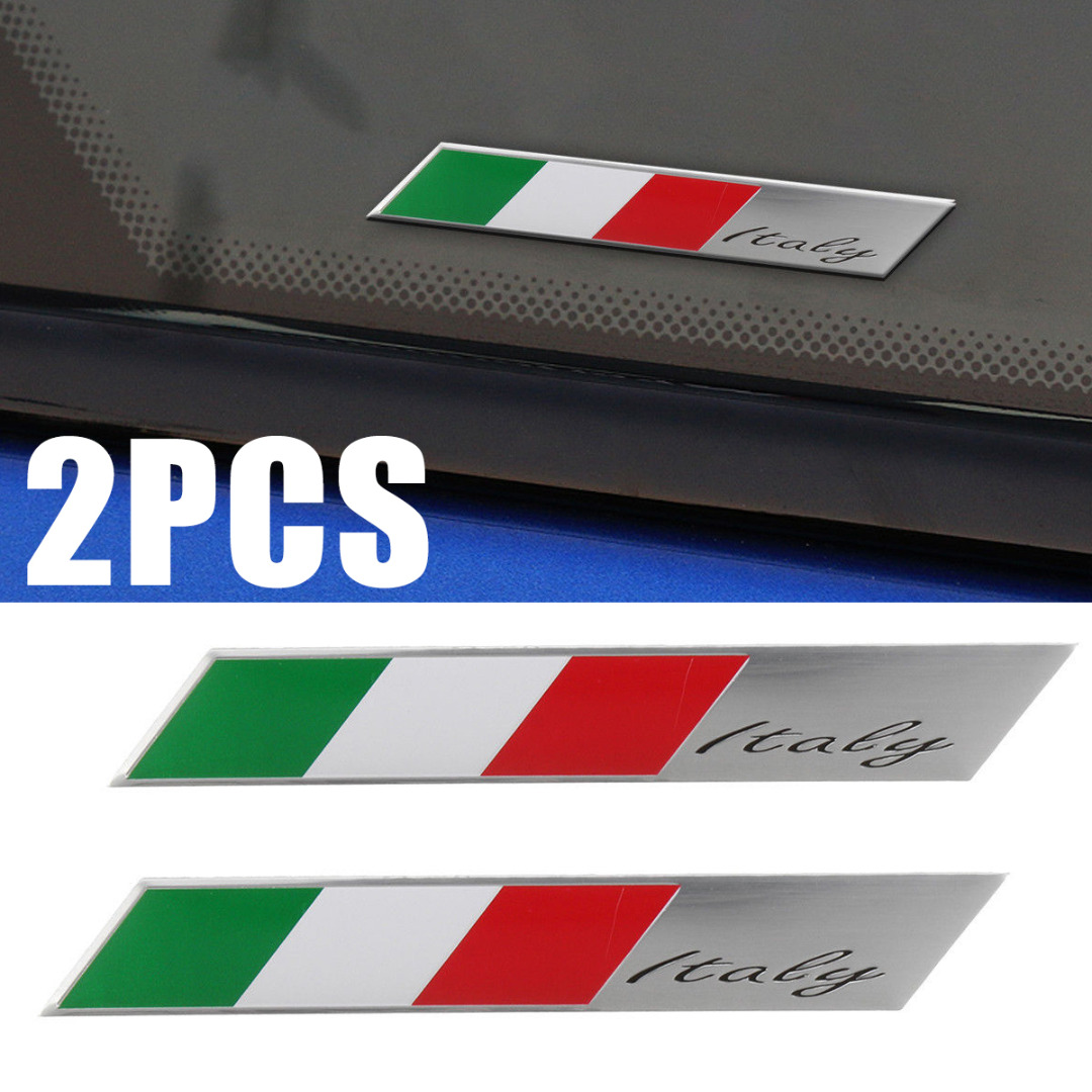 For Car Interior Exterior Decoration 2pcs Aluminum Italy Flag Car Emblem 3D Design Italian Badge Sticker Decal Decors Mayitr