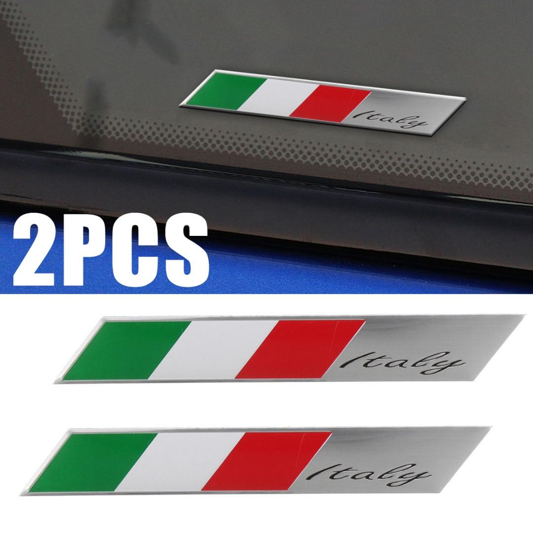 Для украшения салона автомобиля, 2 шт., алюминиевый, итальянский флаг, автомобильная эмблема, 3D дизайн, итальянский значок, наклейка, декорац...