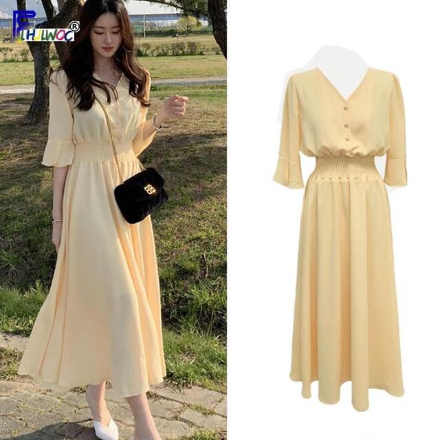 Frauen V Neck Sommer Kleider Chiffon Flare Hülse Dünne Taille EINE Linie Koreanische Stil Kleidung Design Taste Hemd Kleid Lila gelb
