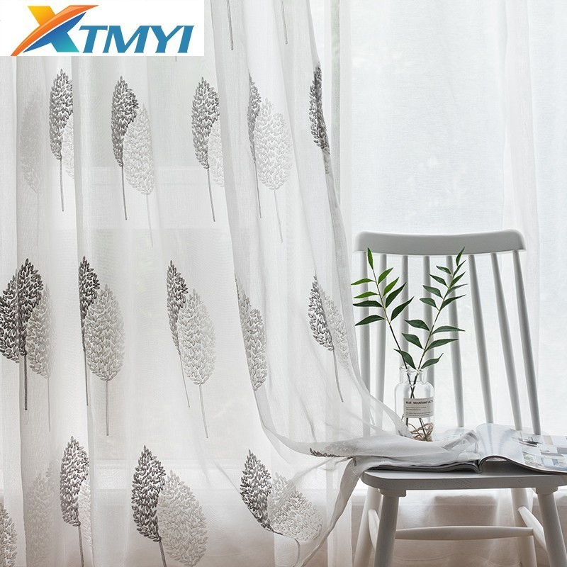 Embroidered Organza Sheer Curtain Tulle Fabric Leaves Transparent Curtains For Living Room Bedroom Kitchen Sheer