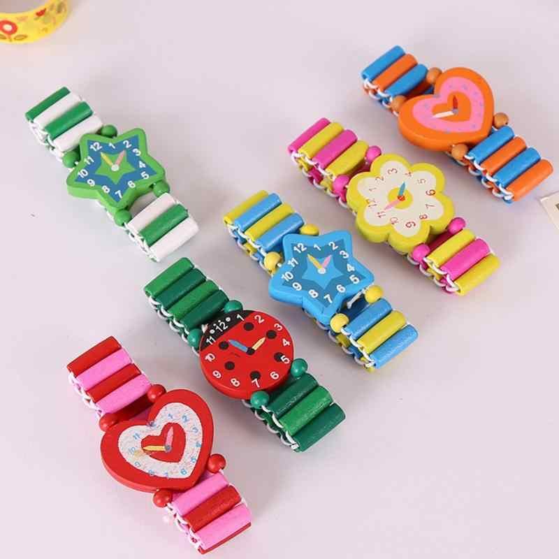 Babys niños dibujos animados madera artesanías relojes pulsera reloj juguete niños estudiante Navidad juguetes regalo Color al azar