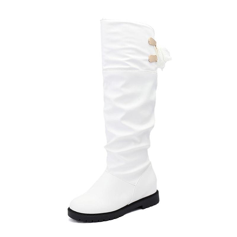 white Mode Black De Chaussures Haut Fond Nouvelle Bottes Femmes Plat Augmenter D'hiver Hiver VSUMzp