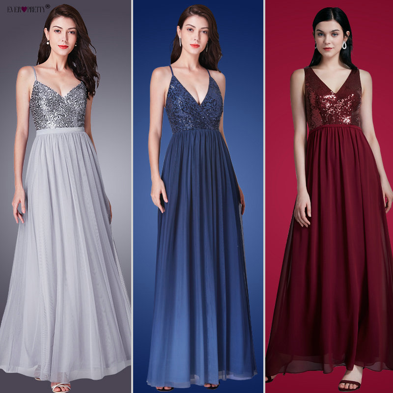 Выпускные платья Burgundy длинные 2018 Ever Pretty EP07346 элегантные с пайетками А-силуэт без рукавов v-образный вырез Тюль Свадебные Выходное платье