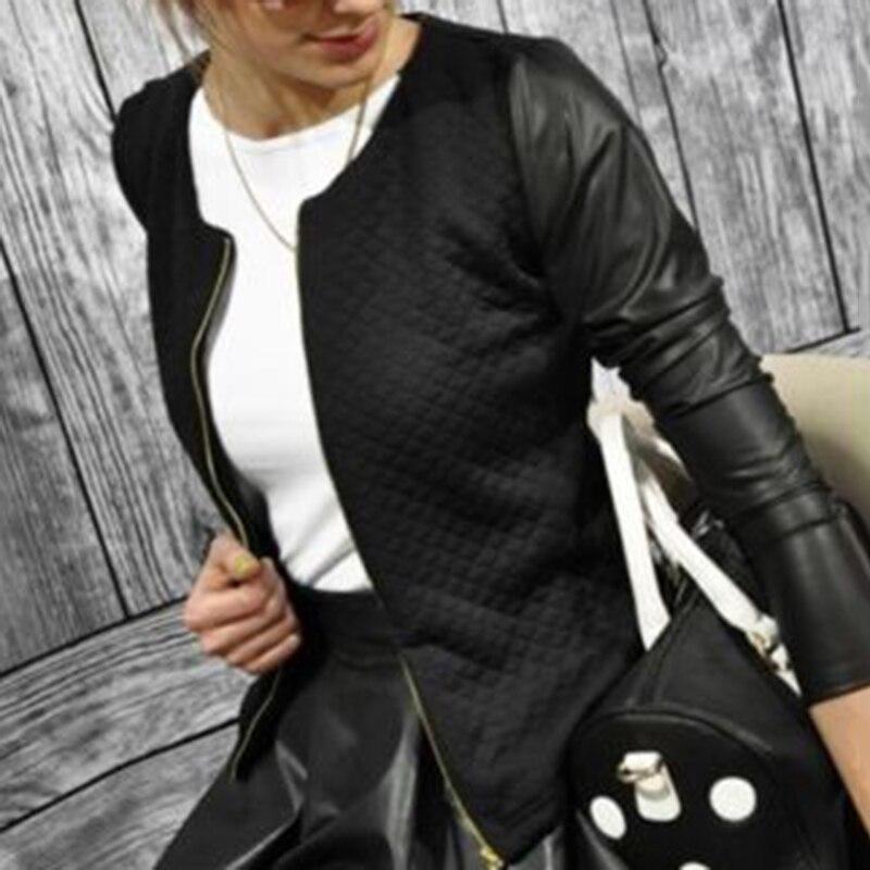 Vintage   Jackets   Spring Autumn Women   Basic   Coats PU Leather   Jacket   Splice Long Sleeve Coat Casual Slim Fit Ladies Outerwear