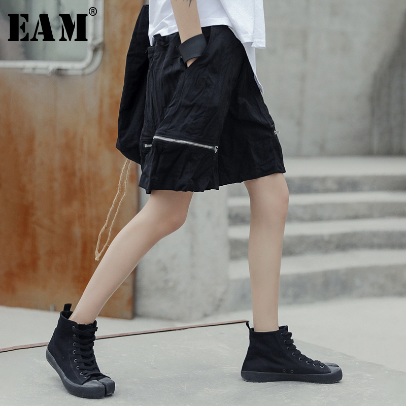 [EAM] 2019 Autumn Winter Woman Light Blue Color High Tight Waist Lace-up Pleated Furr Spliced Irregular Short Pants LI182