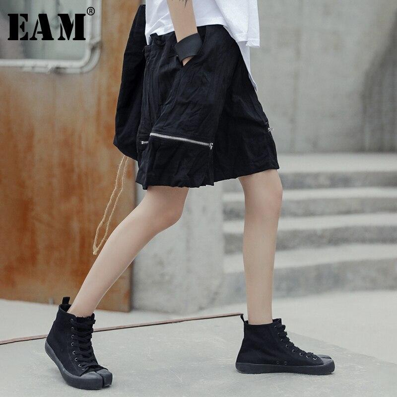 [EAM] 2020 New Spring Summer High Waist Black Zipper Split Joint Leisure Loose Wide Leg Shorts Women Trousers Fashion Tide JU429