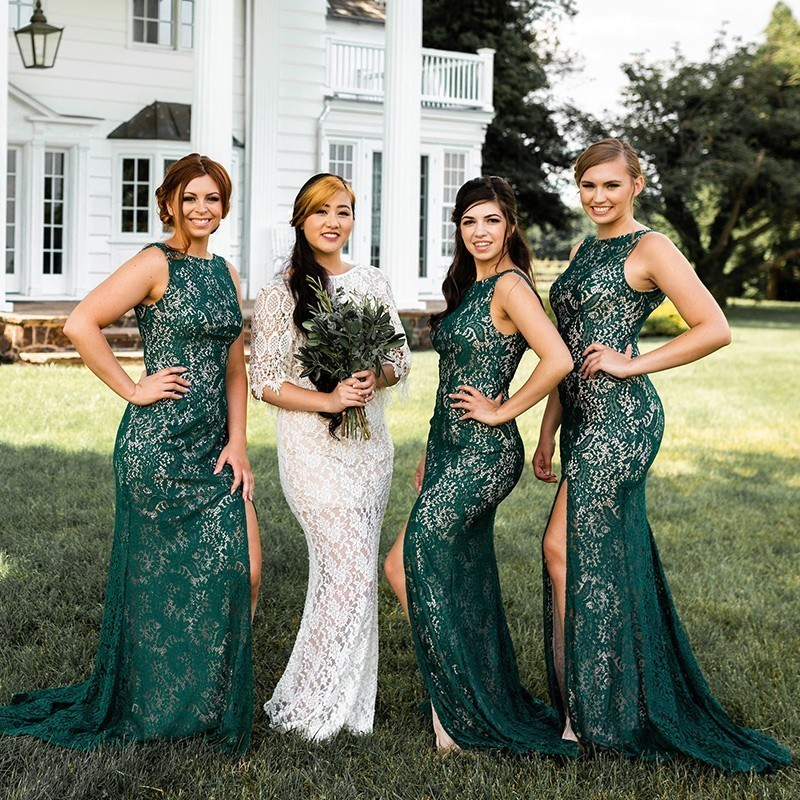 Vintage Lace Emerald Green Bridesmaid Dresses Ever Pretty Farsali Appliques Sexy High Split Mermaid Wedding Guests Dresses 2019