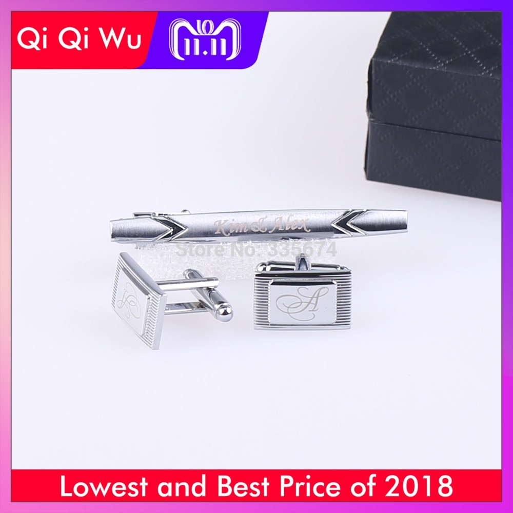 CT-005 New Fashion Personalized Engraved Cufflinks and Tie Clip Sets for Men With gift box fashion small lattice and tiny floral pattern 6cm width tie for men