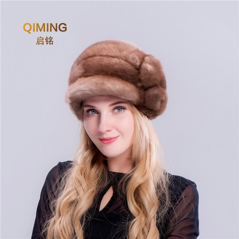 Winter Woman Keep Warm Mink Fur Ladies Hats Earmuffs Flower Duck Tongue Baseball Cap Casquette Femme Outdoor Brown Beret Women