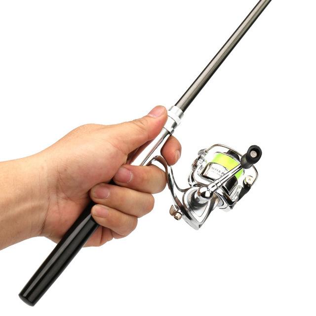Combo Mini Pocket  Pen Collapsible Fishing Rod Reel.