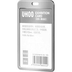 Uhoo alta qualidade liga de alumínio id titular do cartão trabalho identidade nome crachá titular titular do cartão exposição atacado