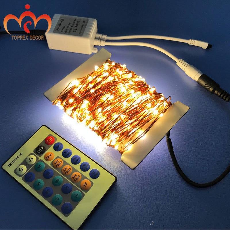 30m meleg fehér dimmer és 8 modellek Twinkling távoli LED réz - Üdülési világítás