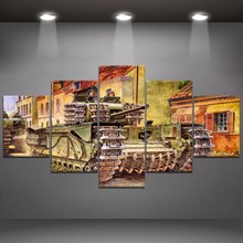 5 Panel Tank War Canvas Printed Painting For Living Room Wall Decor HD Picture Artworks Poster2