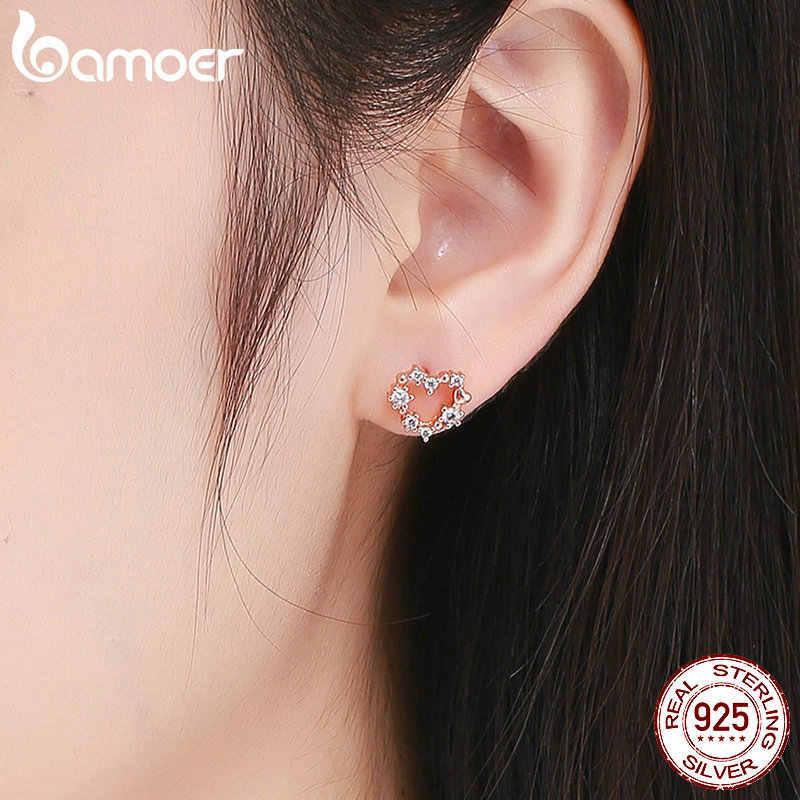 BAMOER argent bijoux ensembles 925 en argent Sterling clé pendentif collier et boucle d'oreille goujon femelle fiançailles bijoux GUS113