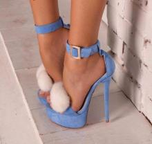 Women Blue Suede Fur High Heel Sandals Platform Ankle Strap Shoes White Fur Pom Pom Sandals Thin High Heel Gladiator Sandals high quality white suede fringed high heel sandals 2015 sexy open toe ankle strap sandals summer high heel sandals