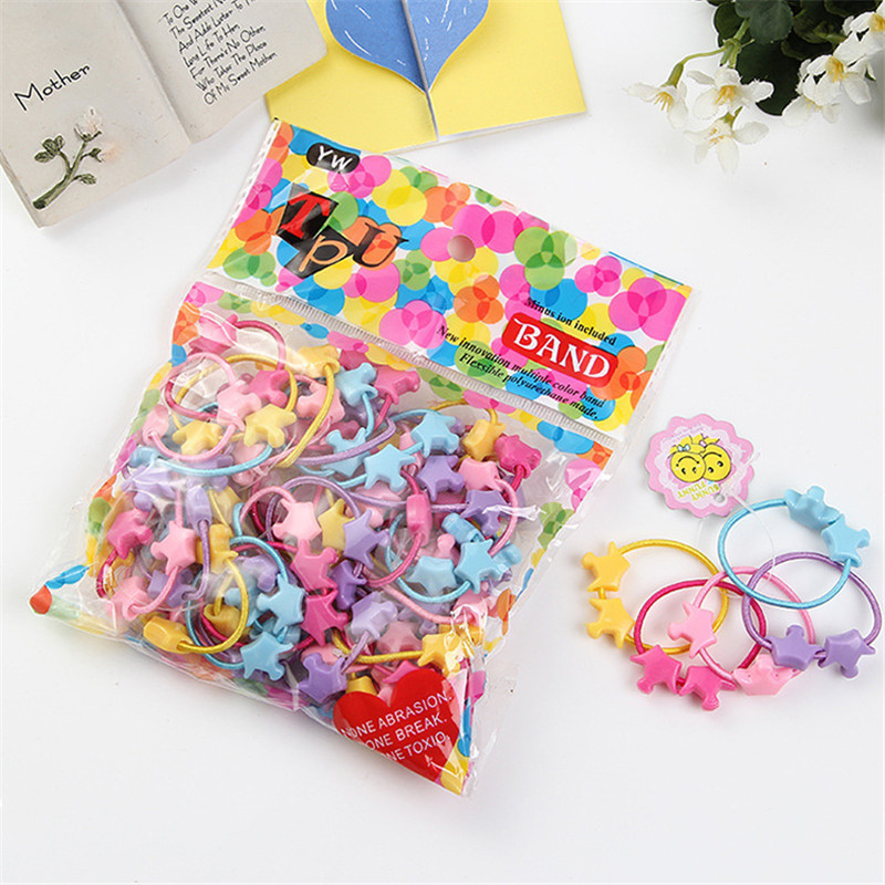 5pcs/bag Small Cartoon Bears Flowers Rabbit Star Child Baby Kids Ponytail Holders Hair Accessories For Girl Rubber Band Tie Gum