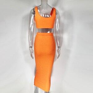 Image 5 - Colysmo Womens Sexy Tweedelige Sets 2019 Zomer 2 Delige Set Vrouwen Crop Top En Rok Set Party Club Outfits oranje Sets Kleding
