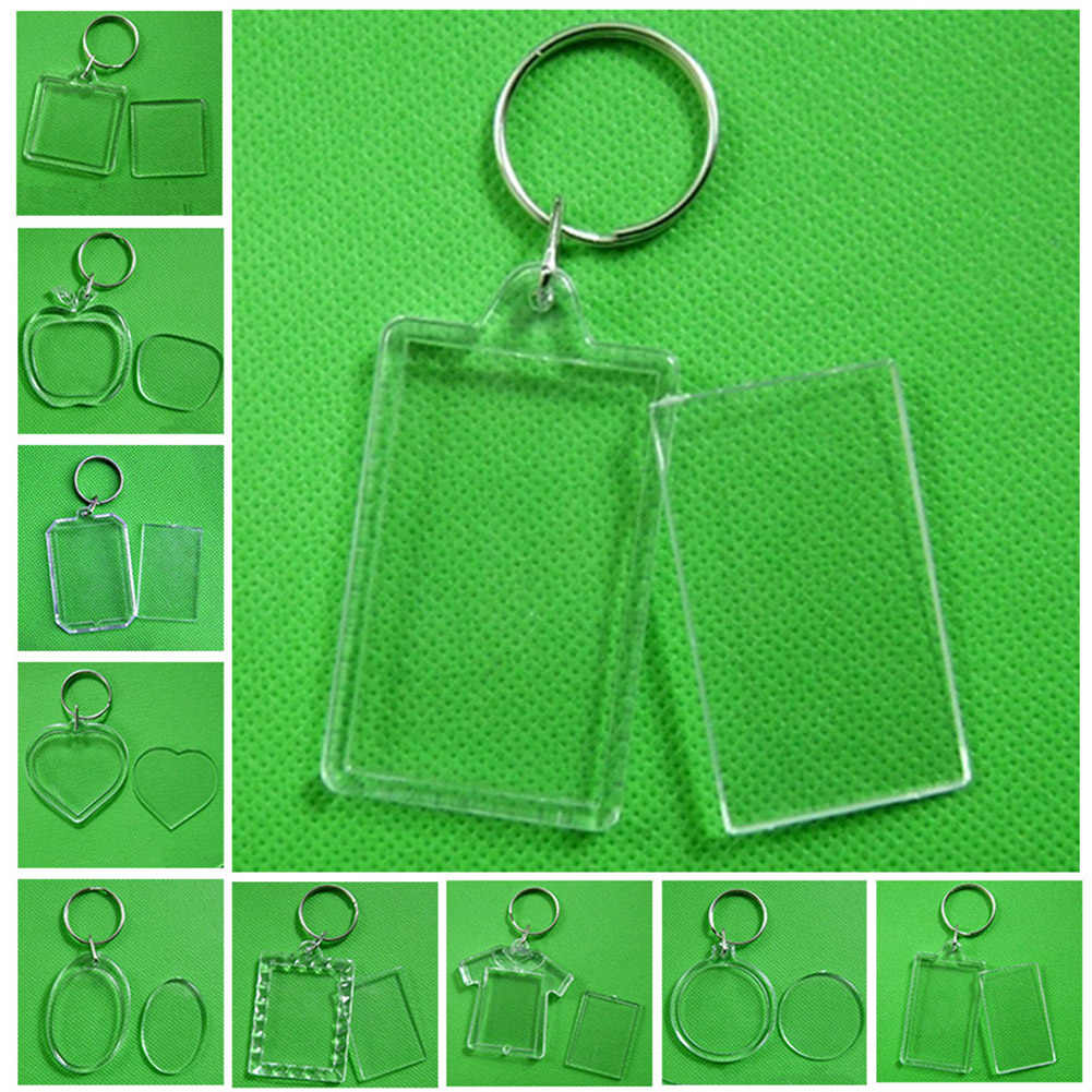 2019 hot sale Transparent Blank Acrylic Insert Photo Picture Frame Keyring Keychain DIY Split Ring Key Chain Gift
