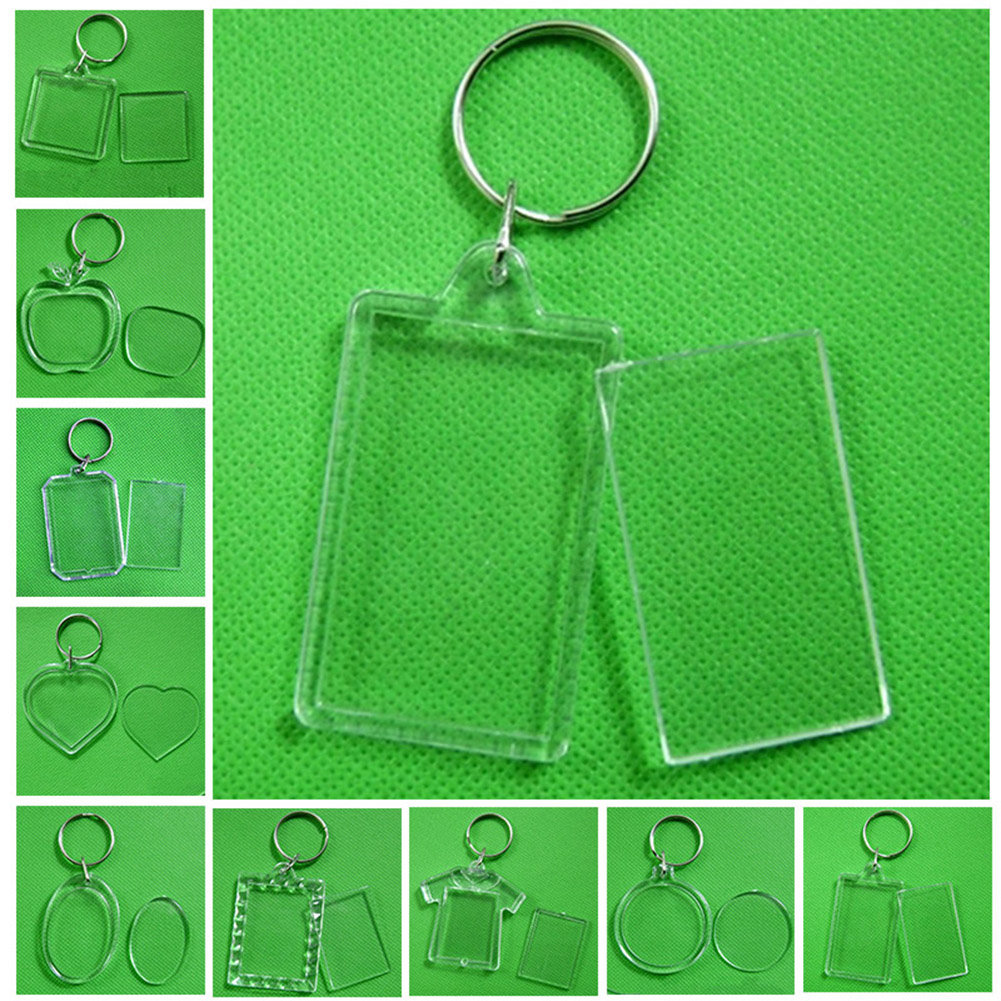 2019 Hot Sale Transparent Blank Acrylic Insert Photo Picture Frame Keyring Keychain DIY Split Ring Key Chain Gift