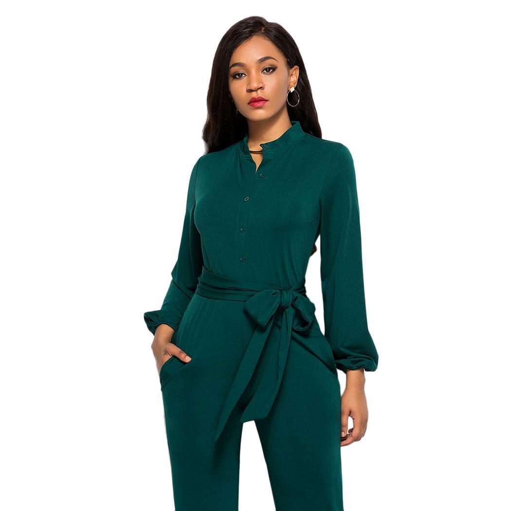 Women Casual V-Neck Long Sleeve Solid Button Spring, Autumn Wide   Jumpsuit  , Leg Belt   Jumpsuit   Loose