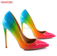Vinapobo Design Gradient Colors Patent Leather Rainbow Shoes Women Office Party Footwear Pointed Toe Fashion Stiletto High Heels