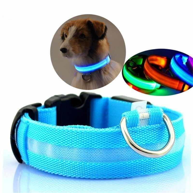 LED di Nylon Pet Dog Collar Notte di Sicurezza Lampeggiante Glow In The Dark Guinzaglio Del Cane Cani Luminoso Fluorescente Collari Collare Perro