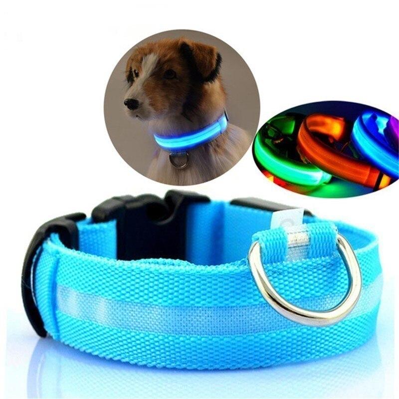 LED di Nylon Pet Dog Collar Notte di Sicurezza Lampeggiante Glow In The Dark Guinzaglio Del Cane Cani Luminoso Fluorescente Collari Collare Perro