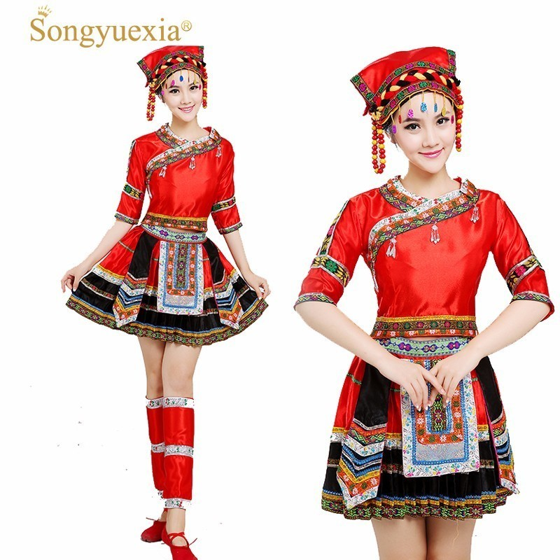 Yi Dance Show Clothing Gules Miao Pleated Skirt Serve Short Skirt Tujia Zhuang Dance Performance Serve Torch Festival