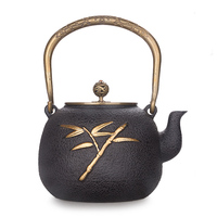 Japanese handmade bamboo leaf double copper cast iron teapot copper covered gold Chinese kungfu puer tea pot water kettle 1.3L