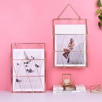 INS Style Wrought Iron Newspaper Basket Rose Gold Book Basket Rack Wall Wall mounted Storage Basket
