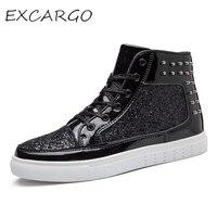 EXCARGO Shoes Men Sneakers High Top New 2019 Sequins Golden/black Sneakers Shoes For Men 36 44 Fashion Rivet Sneaker For Women