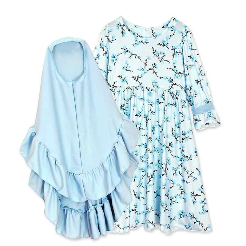 2 Buah Set Muslim Anak Perempuan Gaun Pakaian Gaun Panjang + Jilbab Gaun Cetak Pakaian Anak Pakaian Kids Panjang Terbungkus Hijab cocok