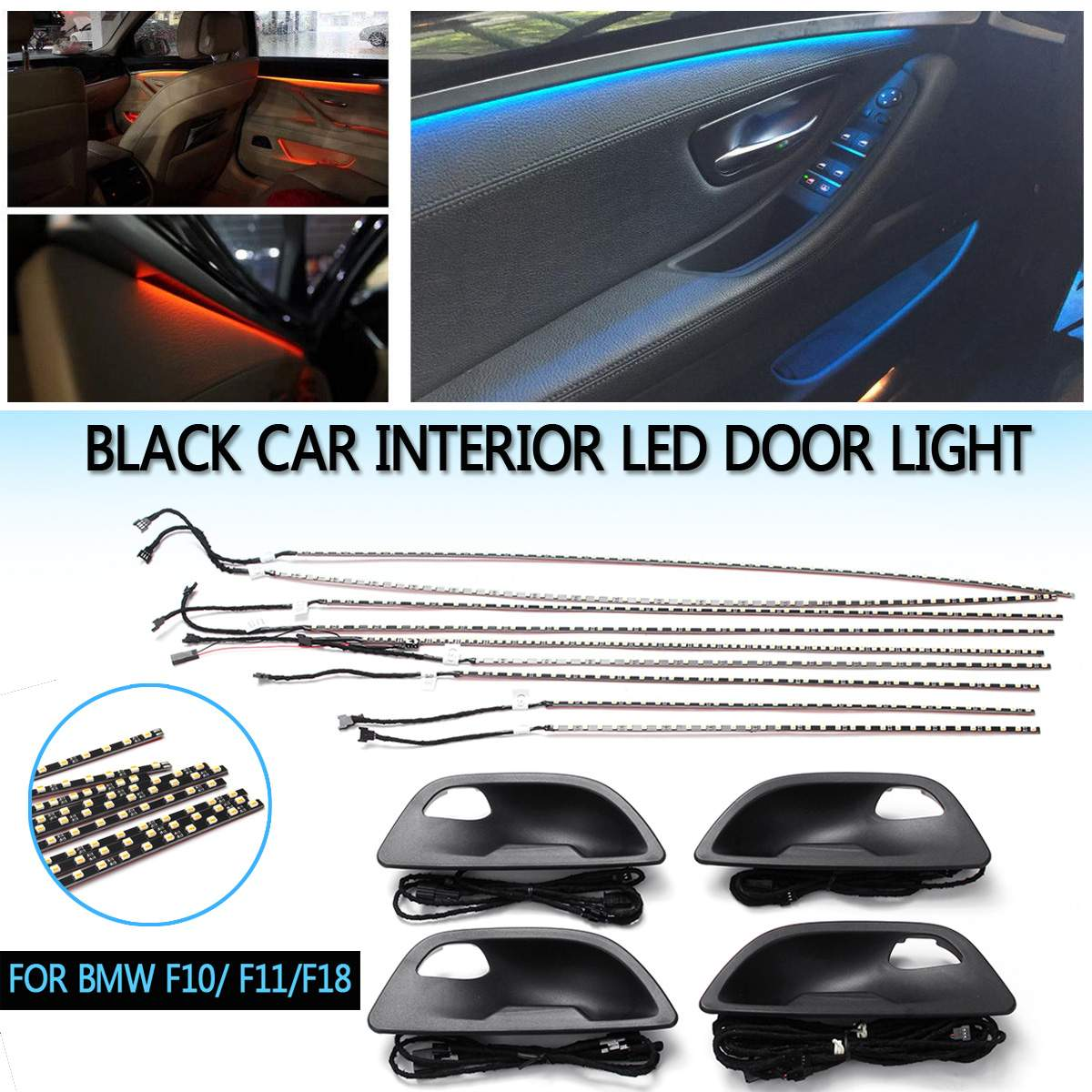 For BMW F10//F11 Upgrade 2 Color Interior Led Ambient Atmosphere Lamp Light Strip