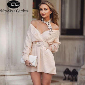 NewAsia White Shirt Dress Long Sleeve Deep V-neck Women Dress Summer 2019 Sexy Off Shoulder Double Pocket Belt Club Casual Dress