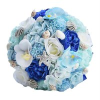 HOT Romantic Wedding Bouquets For Brides,Beach Shell Blue Artificial Wedding Flowers Brooch Bridal Bouquets,Handmade Holding F