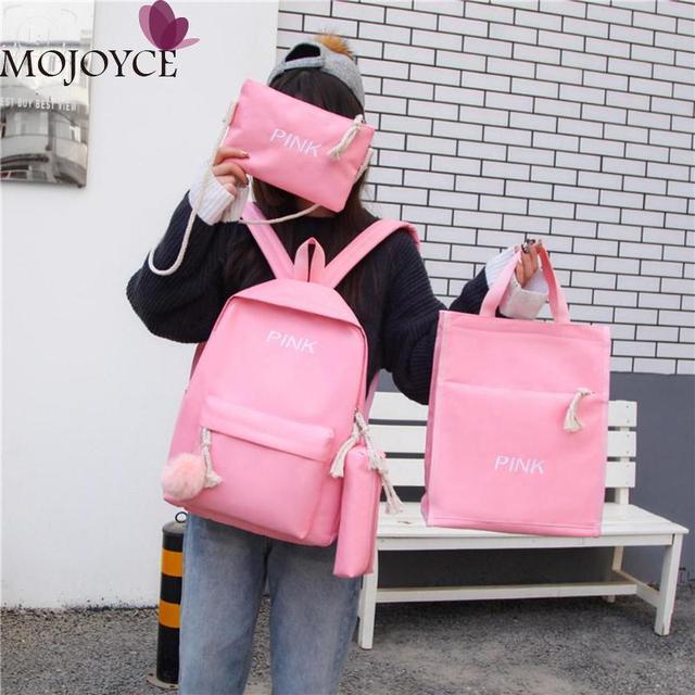 4 pcs/Set Women Backpacks Set Canvas Letter Teenager School Backpacks Casual Style Women Backpack Pen Bags sac a dos femme 2019 1