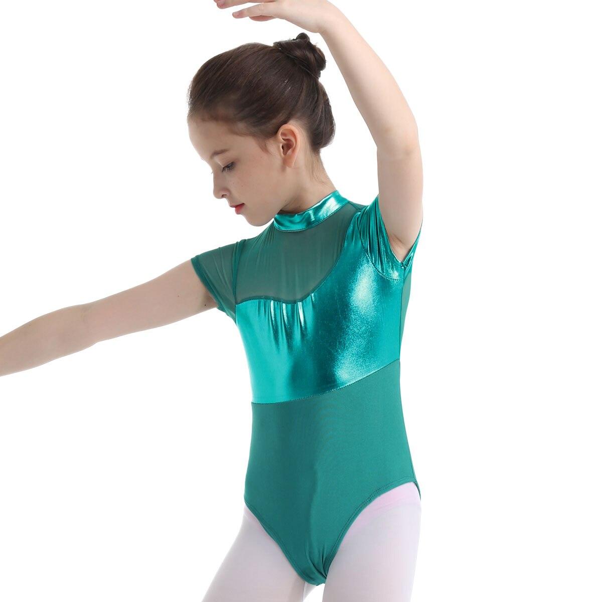 Girl Shiny Metallic Leotards Kid Ballet Gymnastics Mesh Splice Leotard Dancewear