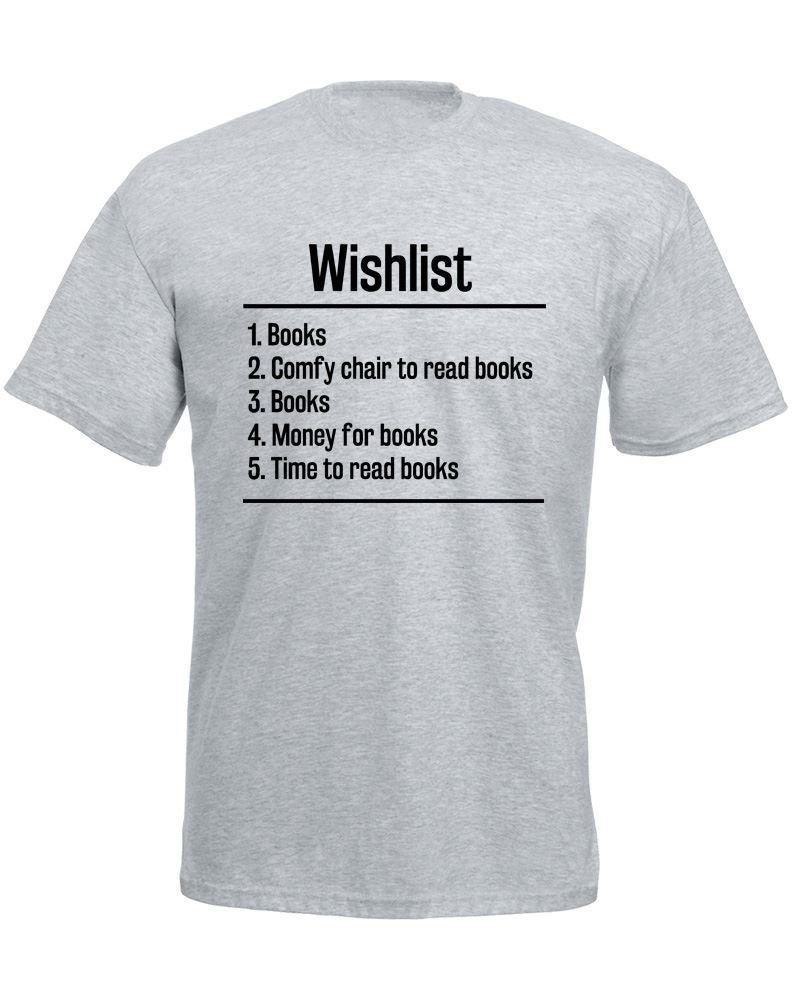 Personalized Tees Fashion O-Neck Short-Sleeve T Shirts Books Wishlist For Men
