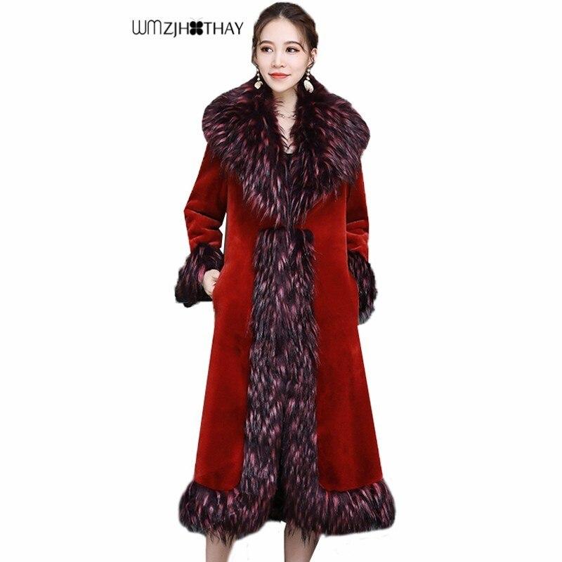 Manteau de lapin Rex de luxe femme mode d'hiver décontracté grand col de fourrure chaud tempérament Parker épais Long tirant extérieur en fausse fourrure
