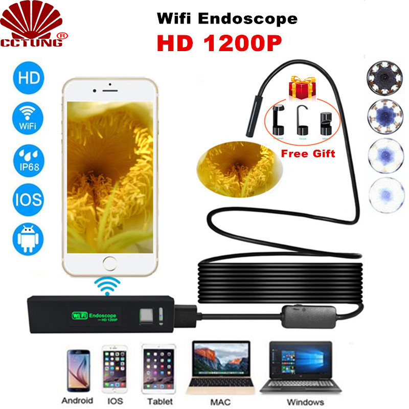 1200P HD Mini WIFI Endoscope Camera  8mm Lens Waterproof Borescope Inspection For Android PC IOS with 2M 3 5M 5M 7M 10M Cable