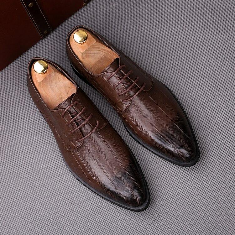 Boda Con Hombre Fiesta 3 Zapatos 2 1 Moda De Oxfords Otoño Para Cuero Negocios Puntiagudos Cordones Formales qXES8pwEn