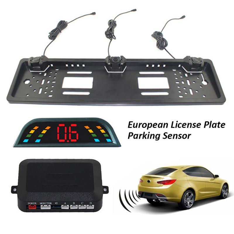 Car Parking Sensor Kit & Auto Reversing Radar European License Plate Camera Front Back Car Rear View with digital LCD Display